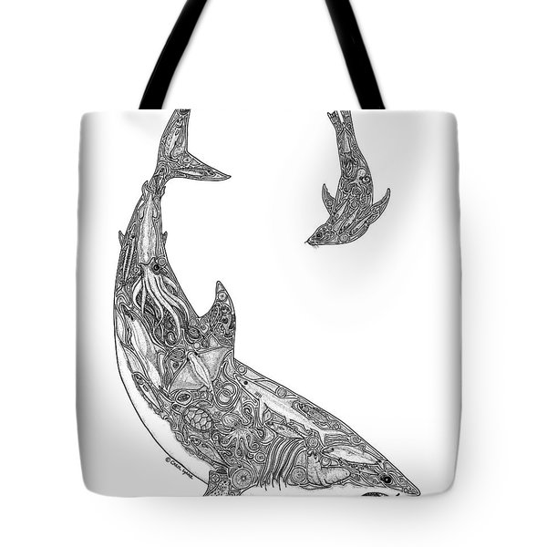 Tribal Great White And Sea Lion Tote Bag by Carol Lynne