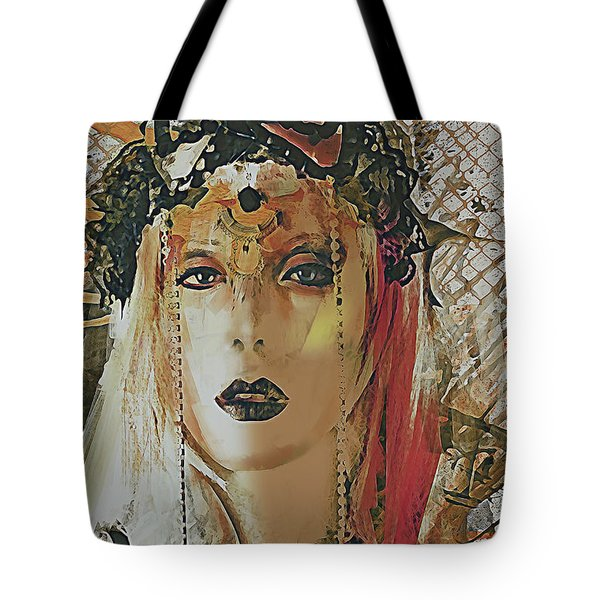Tote Bag featuring the digital art Tribal Rust Portrait by Galen Valle