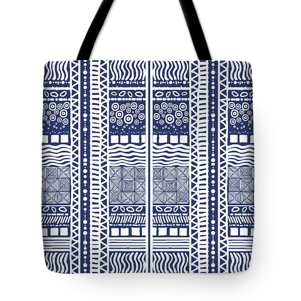 Tribal Sampler Indigo Tote Bag
