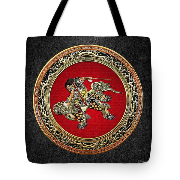 Tribute To Hokusai - Shoki Riding Lion  Tote Bag