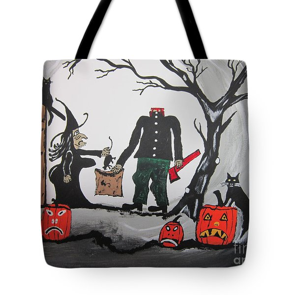 Tote Bag featuring the painting Trick Or Treat. by Jeffrey Koss