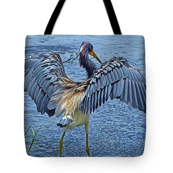 Tricolor Heron The Grand Opening Tote Bag by Larry Nieland