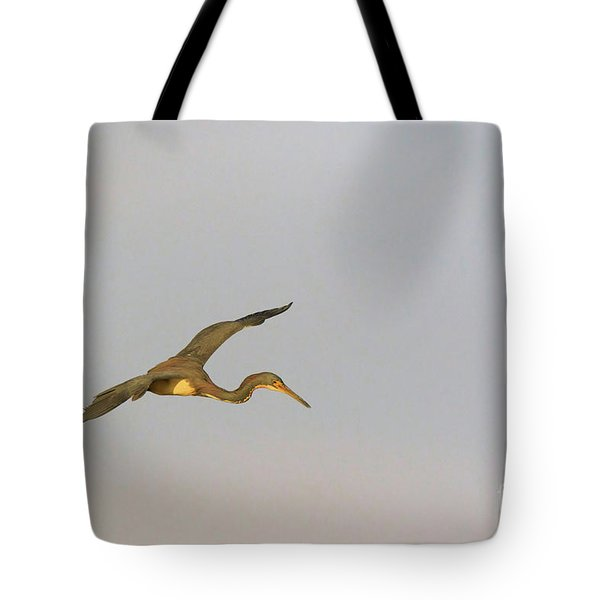 Tricolored Heron In Flight Tote Bag by Louise Heusinkveld