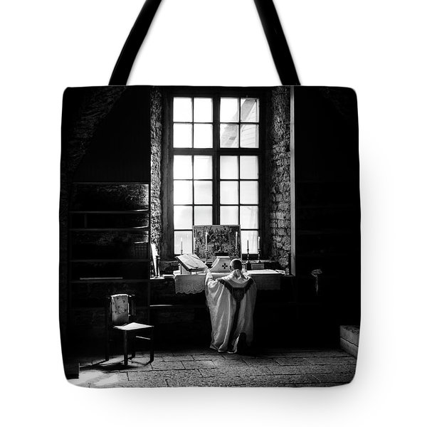 Tridentine Mass In An Ancient Chapel In The Old Dominican Monastery In Tallinn Tote Bag