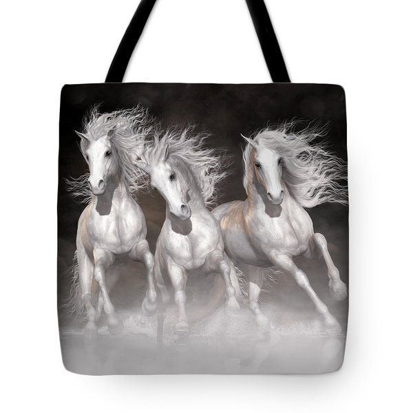 Tote Bag featuring the digital art Trinity Horses Neutrals by Shanina Conway