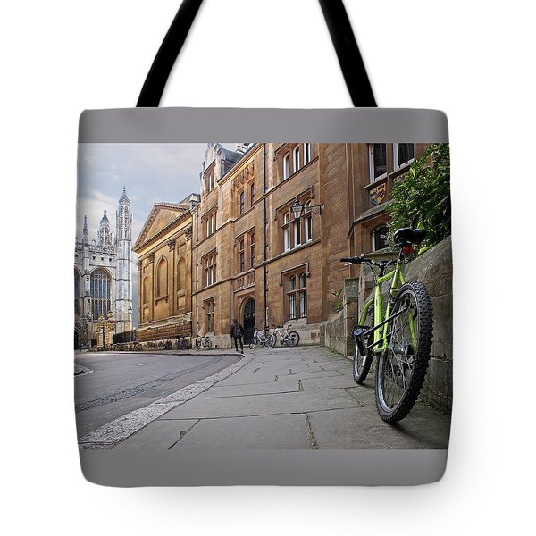 Tote Bag featuring the photograph Trinity Lane Clare College Cambridge Great Hall by Gill Billington