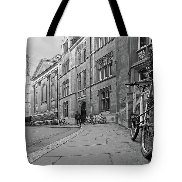 Tote Bag featuring the photograph Trinity Lane Clare College Great Hall In Black And White by Gill Billington
