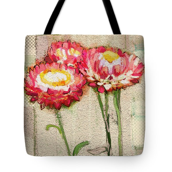 Tote Bag featuring the painting Trio by Carrie Joy Byrnes