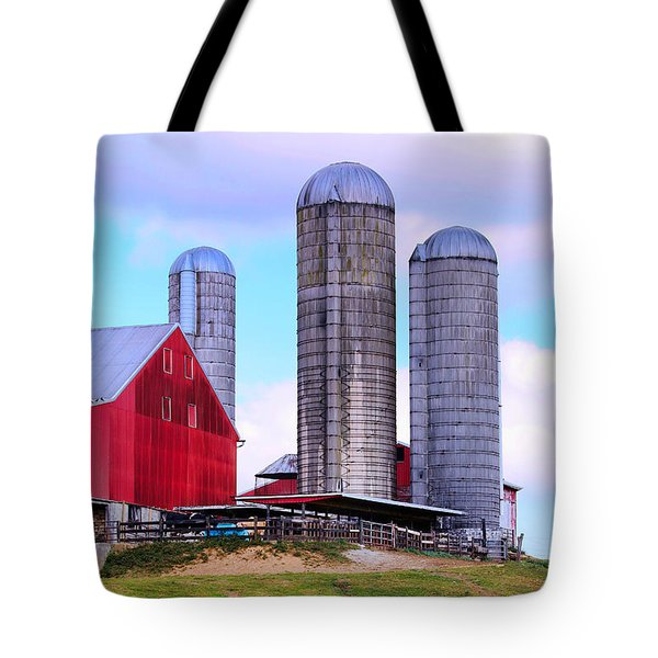 Tote Bag featuring the photograph Trio Of Silos by Polly Peacock