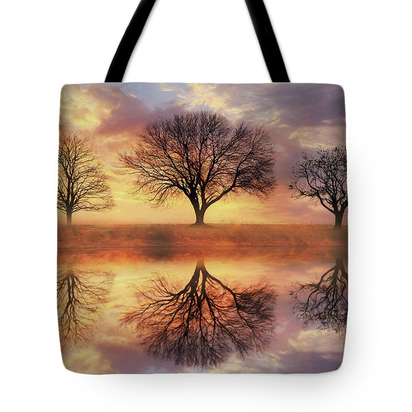 Tote Bag featuring the mixed media Trio Of Trees by Lori Deiter