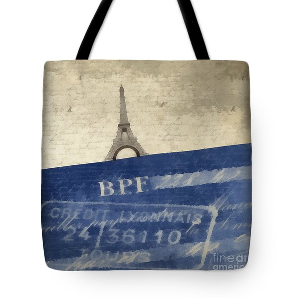 Trip To Paris Square Pillow Size Tote Bag by Edward Fielding