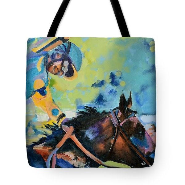 Triple Crown Champion American Pharoah Tote Bag by Donna Tuten
