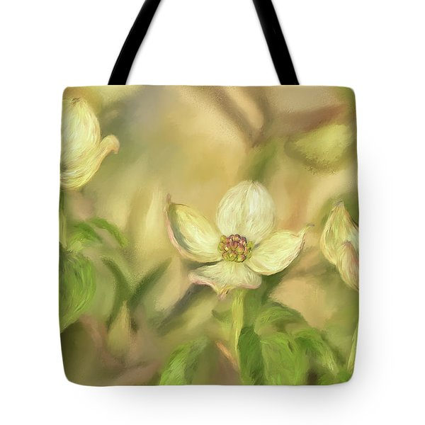 Tote Bag featuring the digital art Triple Dogwood Blossoms In Evening Light by Lois Bryan
