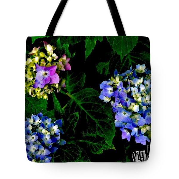 Triple Hydrangia In Spring Tote Bag by Marsha Heiken