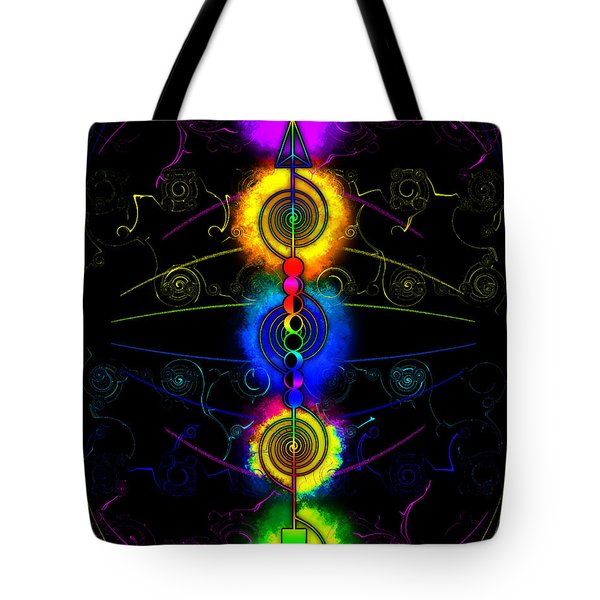 Tote Bag featuring the digital art Triple Moon Goddess Totem by Iowan Stone-Flowers