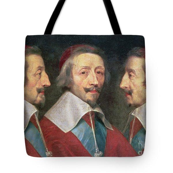 Triple Portrait Of The Head Of Richelieu Tote Bag by Philippe de Champaigne