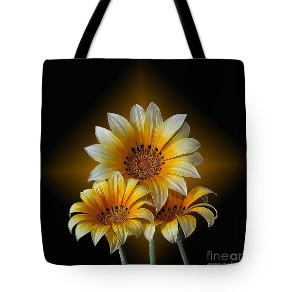 Triple Sunshine Black And Gold Tote Bag