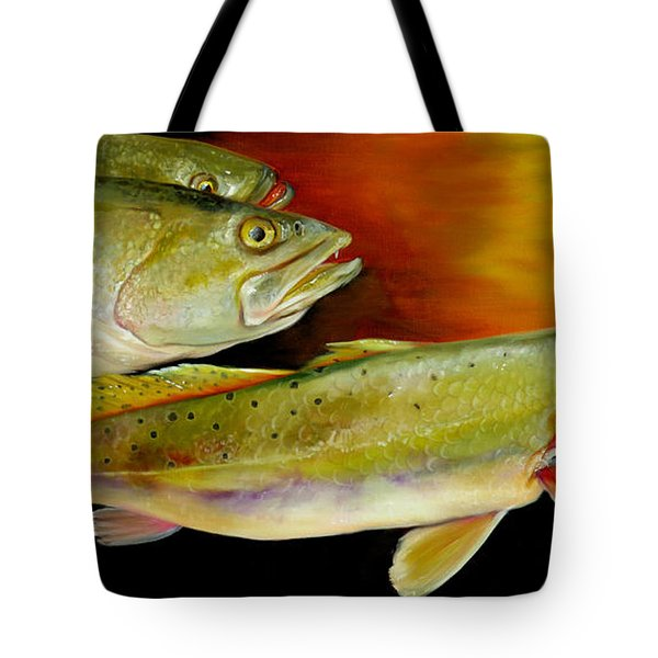 Triple Trout Tote Bag by Phyllis Beiser