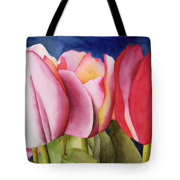 Triple Tulips Tote Bag