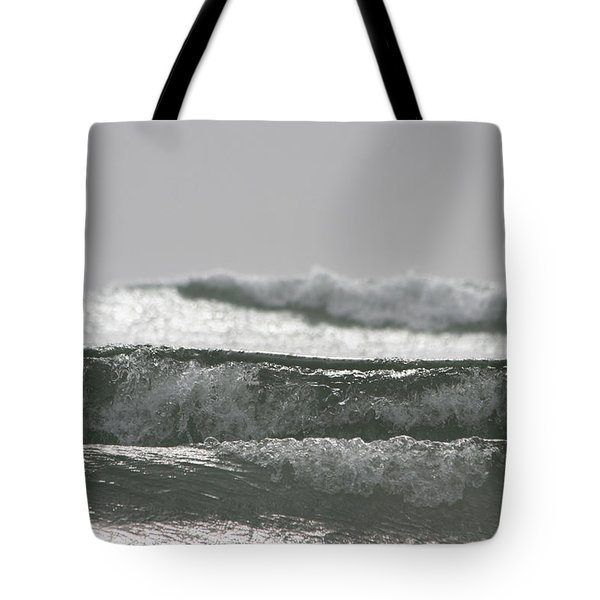 Tote Bag featuring the photograph Triple Wave Action by Holly Ethan