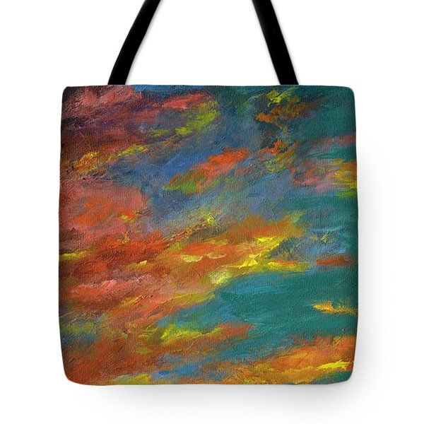 Triptych 1 Desert Sunset Tote Bag by Frances Marino