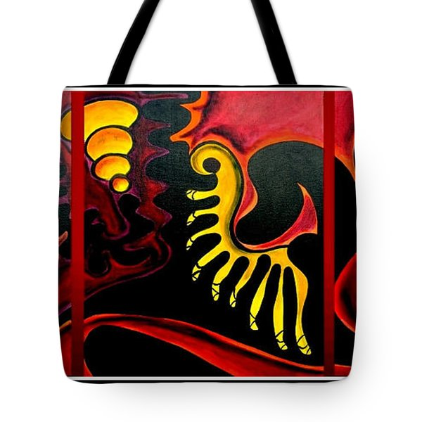 Tote Bag featuring the painting Triptych Abstract Vision by Jolanta Anna Karolska