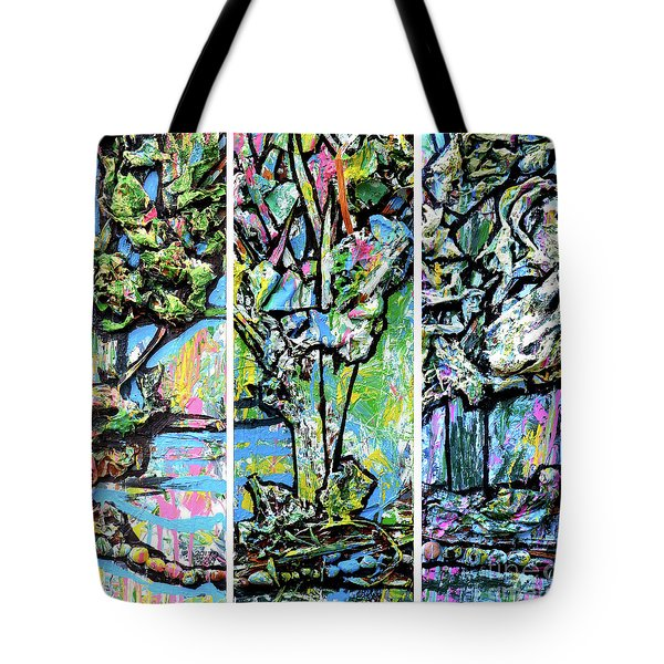 Tote Bag featuring the painting Triptych Of Three Trees By A Brook by Genevieve Esson