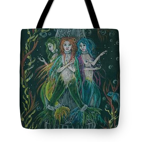 Tote Bag featuring the drawing Triumph And Her Sisters by Dawn Fairies