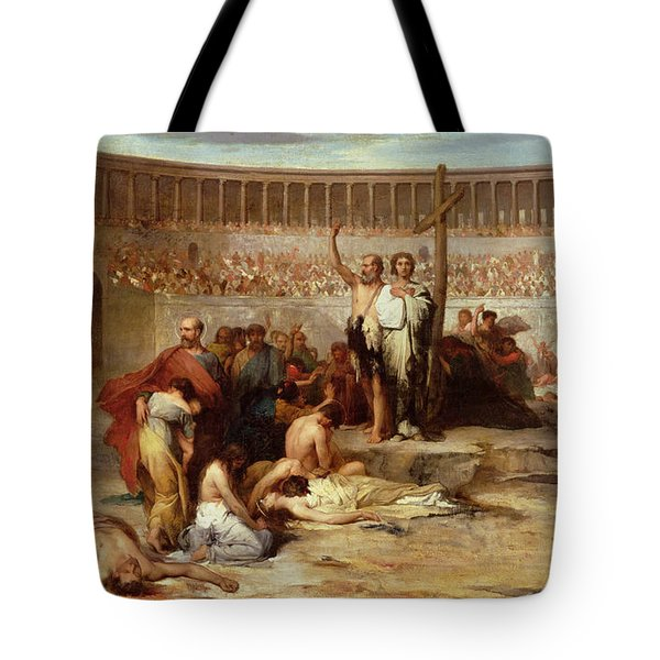 Triumph Of Faith    Christian Martyrs In The Time Of Nero Tote Bag by Eugene Romain Thirion