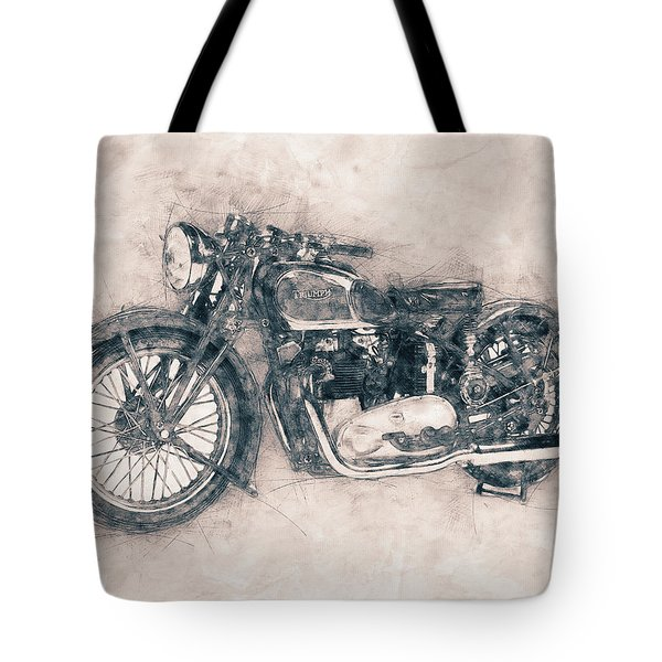 Triumph Speed Twin - 1937 - Vintage Motorcycle Poster - Automotive Art Tote Bag