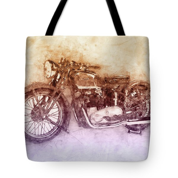 Triumph Speed Twin 2 - 1937 - Vintage Motorcycle Poster - Automotive Art Tote Bag