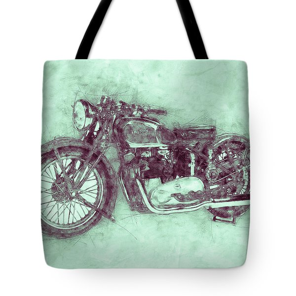 Triumph Speed Twin 3 - 1937 - Vintage Motorcycle Poster - Automotive Art Tote Bag