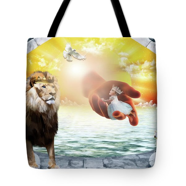 Tote Bag featuring the digital art Triune Protection by Dolores Develde