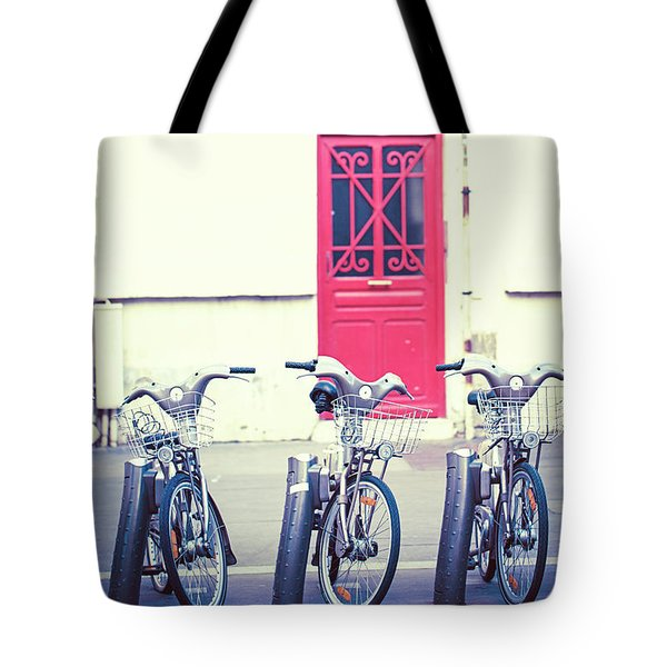 Tote Bag featuring the photograph Trois - Three Bicycles In Paris by Melanie Alexandra Price