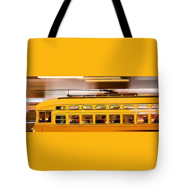 Tote Bag featuring the photograph Trolley 1052 On The Move by Steve Siri