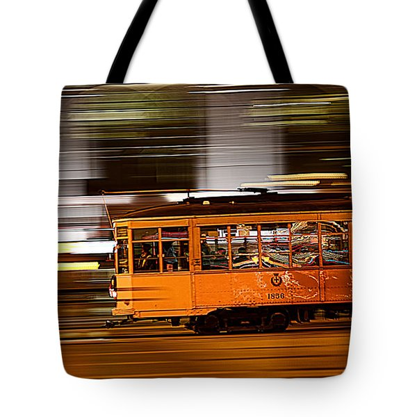 Tote Bag featuring the photograph Trolley 1856 On The Move by Steve Siri