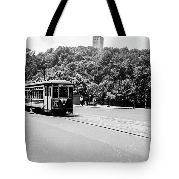 Tote Bag featuring the photograph Trolley With Cloisters by Cole Thompson