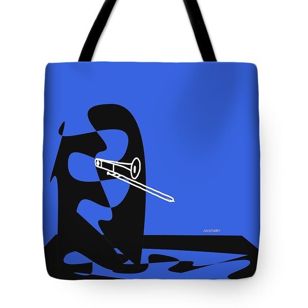 Trombone In Blue Tote Bag