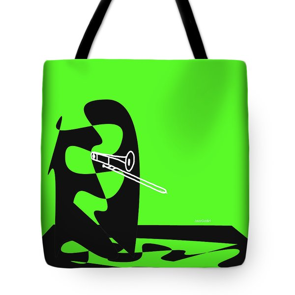 Trombone In Green Tote Bag