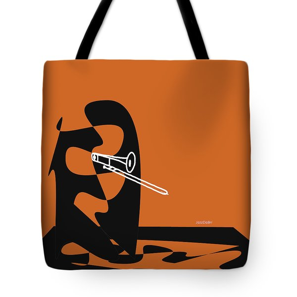 Trombone In Orange Tote Bag