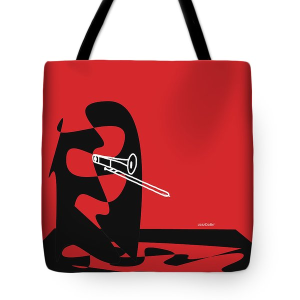 Trombone In Red Tote Bag