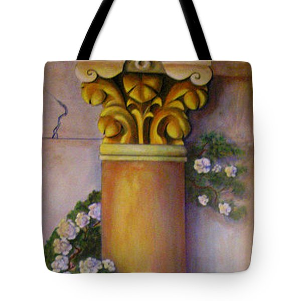 Tote Bag featuring the painting Trompe L'oeil  Column by Thomas Lupari
