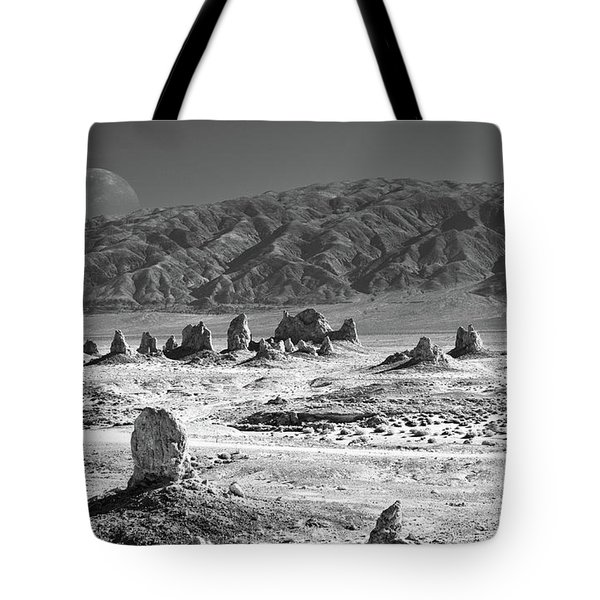 Trona Pinnacles With The Moon Tote Bag by Marius Sipa