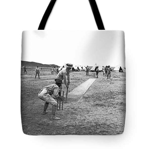 Troops Playing Cricket Tote Bag