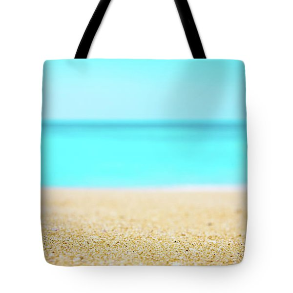 Tropical Art - Turquoise Sand Beach Lagoon Photography Tote Bag by Modern Art Prints