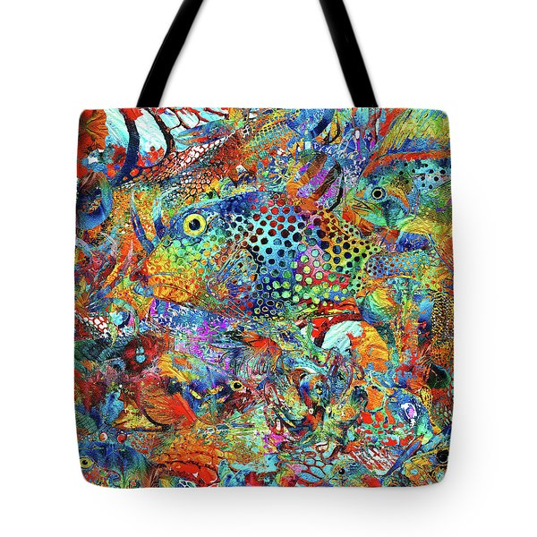 Tote Bag featuring the painting Tropical Beach Art - Under The Sea - Sharon Cummings by Sharon Cummings