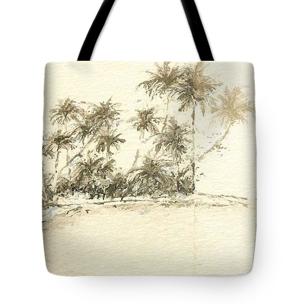 Tropical Beach Drawing Tote Bag