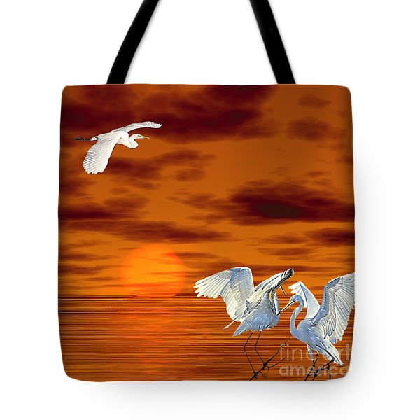 Tote Bag featuring the digital art Tropical Birds And Sunset by Terri Mills