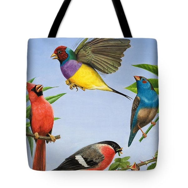 Tropical Birds Tote Bag by RB Davis