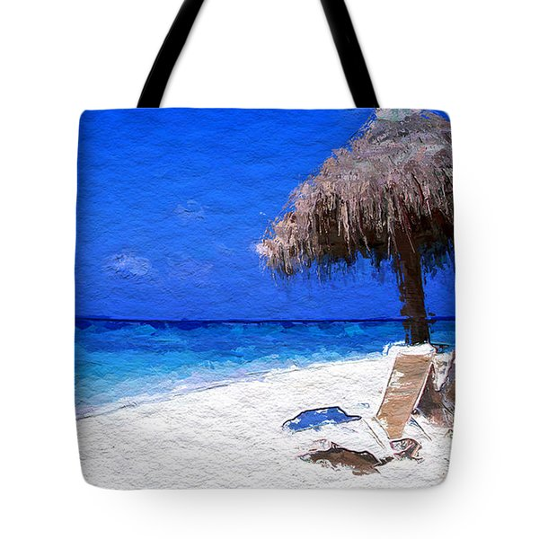 Tropical Blue Sky White Sandy Beach Tote Bag